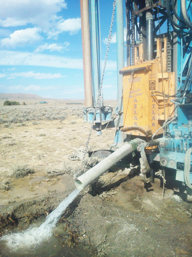 Drilling truck with water